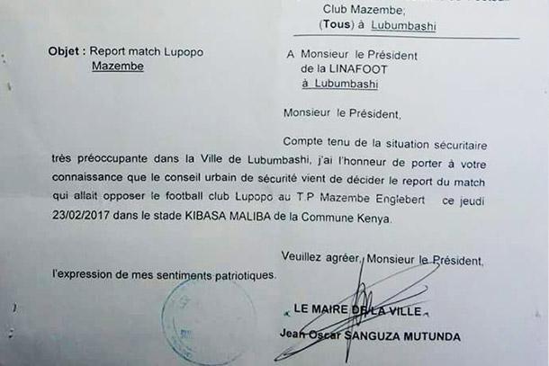 LINAFOOT : le derby Lupopo-Mazembe de nouveau reporté